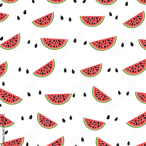 Seamless geometric background with watermelon slices. - 157137633