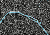 Black and white vector city map of Paris with well organized separated layers. - 157139492