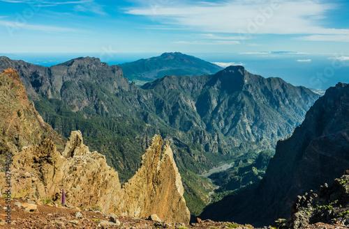 Deurstickers Canarische Eilanden View of Caldera Taburiente vocanic area