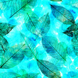 Seamless background pattern of teal skeleton leaves