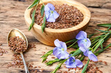 Linseed on wooden background - 157149807