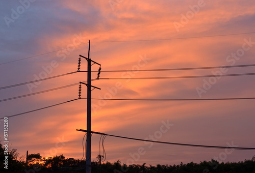 Plakat The electric pole set steady at Rayong Thailand