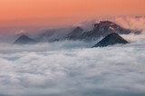 Poland landscape, Pieniny mountains in the sea of fog in the morning with Trzy Korony (Three Crowns) peak