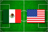 Flags Mexico - USA on the football field. Football qualifying matches 2018