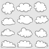Hand Drawn Clouds Set. Vector Illustration.