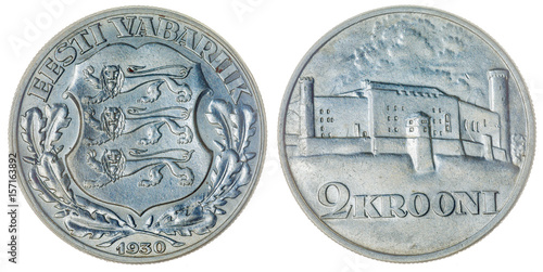 Poster 2 krooni 1930 coin isolated on white background, Estonia