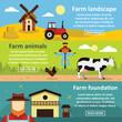 Farm landscape banner horizontal set, flat style