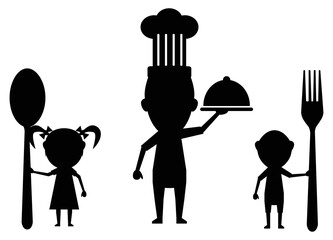 family eating black icon vector