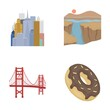 A megacity, a grand canyon, a golden gate bridge,donut with chocolate. The US country set collection icons in cartoon style vector symbol stock illustration web.