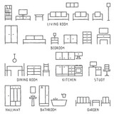 Hand drawn vector furniture outline icons 1 - 157178601