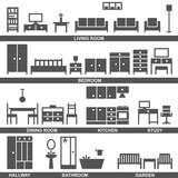 Vector furniture silhouette icons 3 - 157178631