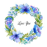 Watercolor frame with lovely blue flowers. - 157178832