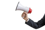 Announcement concept. Hand holds megaphone. Isolated on white background.