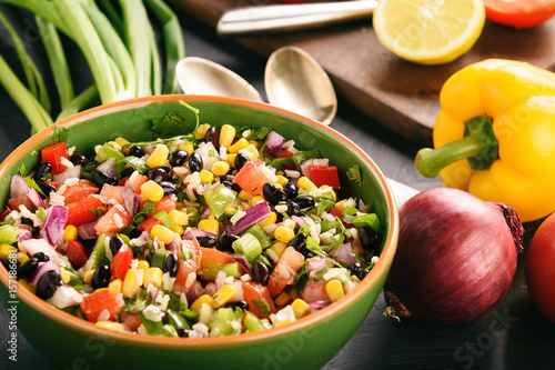 Poster Mexican vegetable salad with black bean- cowboy caviar.