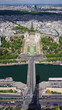 Aerial view of Trocadero gardens from Eiffel tower with beautiful scattered clouds, Paris, France