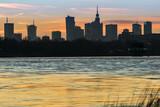 Panorama of Warsaw skyline during sunset