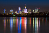 Night panorama of Warsaw skyline - 157191215
