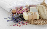 Handmade Soap with bath accessories for background - 157199836