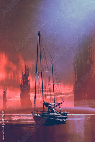 Fotobehang Crimson sailing boat on beach against abandoned buildings in the sea at sunset with digital art style, illustration painting