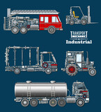 Industrial transport with details and parts poster