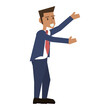 happy businessman stretching arms icon image vector illustration design