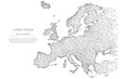 Abstract mash line and point Europe map on white background with an inscription. Starry sky or space, consisting of stars and the universe. Vector world illustration