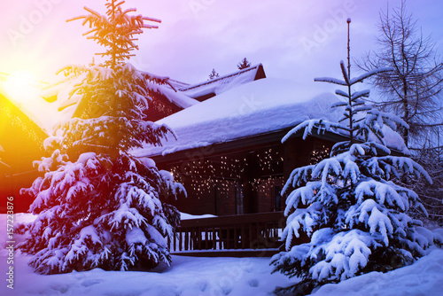 Fotobehang Purper A fairy-tale house in the woods amid the snow-covered fir trees, Christmas landscape. Winter nature.