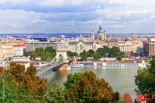 Budapest. View over the Danube and the Chain Bridge Poster