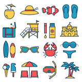 Summer beach icon set. Summertime sea travel vacation collection in linear style. Sunbathing accessories and beach activity elements. Tropical holidays vector icons in line art design.