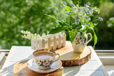 coffee, wood, lily of the valley