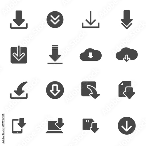 Vector black download icons set - 157226215
