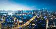 Leinwanddruck Bild - Smart city and internet of things, wireless communication network, abstract image visual