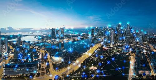 Leinwanddruck Bild Smart city and internet of things, wireless communication network, abstract image visual