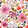 Seamless pattern with bright pink flowers and foliage, floral ornament. - 157229424