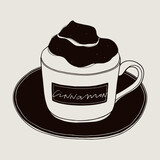 Stylized cappuccino flavoring with cinnamon powder. Coffee hand drawn vector illustration
