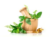 Sweet basil and hot basil in wooden mortar with essential oil and supplement, alternative herbal medicine concept - 157231432