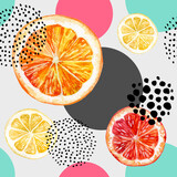 Watercolor fresh orange, grapefruit and colorful circles seamless pattern. - 157241679