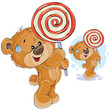 Vector illustration of a brown teddy bear keeps in its paws lollipop. Print, template, design element