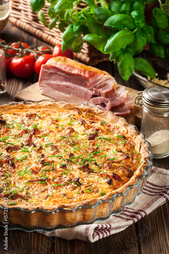 Homemade quiche lorraine with bacon and cheese - 157259435