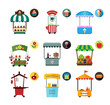 Set of stylized illustrations of promo stands and various promotional and sales objects. Collection of objects for external usage such as movable and fixed market stalls.