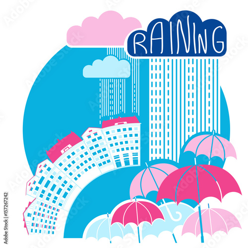 Rain city background with clouds and umbrellas.Vector color flat style - 157267242