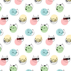 Doodle cats pattern. Hand drawn sketch funny cats heads background