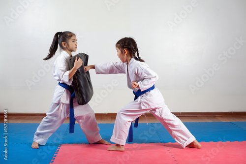 Two little girls demonstrate martial arts working together Poster