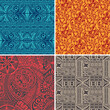 Cotton fabric Set of 4 vector seamless pattern in polynesian hawaiian style