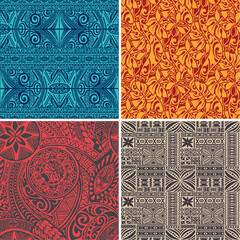 Set of 4 vector seamless pattern in polynesian hawaiian style