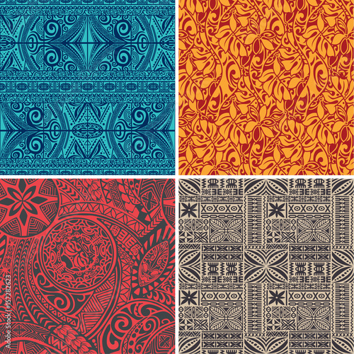 Set of 4 vector seamless pattern in polynesian hawaiian style - 157282623