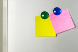 blank Sticky  note and magnet on refrigerator , two paper sheet background. - 157291030