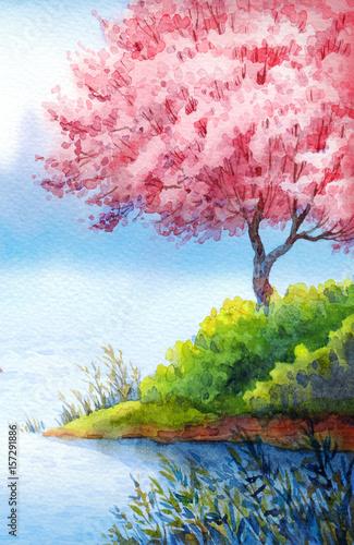 akwarela-krajobraz-wiosny-kwitnace-drzewa