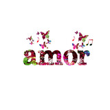 Amor calligraphy lettering isolated vector illustration