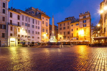 Fountain with obelisk at Piazza della Rotonda, at night, Rome, Italy